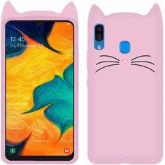 Акция на Силиконовая накладка 3D Cat для Samsung Galaxy A20 / A30 Розовый от Allo UA