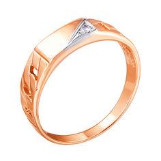 Акция на Золотое кольцо-печатка в комбинированном цвете с фианитом 000004105 21.5 размера от Zlato