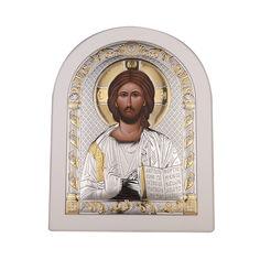Акция на Икона Спаситель Иисус с серебром в белой рамке 000137574 б/р размера от Zlato