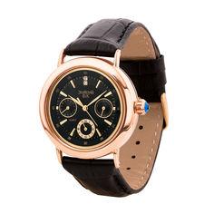 Акция на Часы из красного золота с фианитами и ремешком из синтетической кожи 000135474 от Zlato