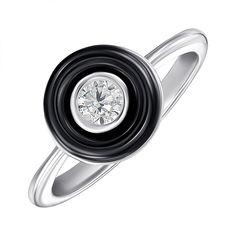 Акция на Серебряное кольцо с керамикой и фианитом 000147844 17 размера от Zlato