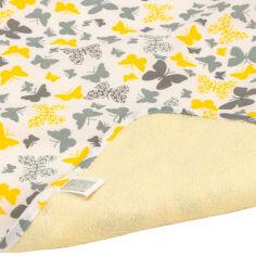 Акция на Двусторонняя непромокаемая пеленка Эко Пупс Eco Cotton желто-серые бабочки 50х70 см от Podushka