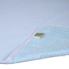 Акция на Двусторонняя непромокаемая пеленка Эко Пупс Jersey Classic синяя 50х70 см от Podushka