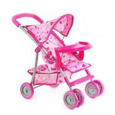Акция на Детская игрушка коляска для куклы Melobo металический каркас Розовый + тент и столик (TB) от Allo UA