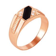 Акция на Перстень-печатка из красного золота с черным ониксом и фианитами 000117634 22.5 размера от Zlato