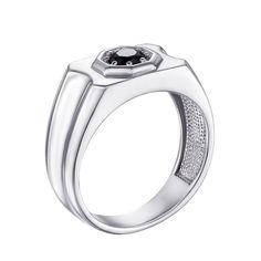Акция на Серебряный перстень-печатка с черным цирконием 000119315 20 размера от Zlato