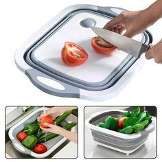 Акция на Складная разделочная доска для мытья и резки овощей (3552) от Allo UA