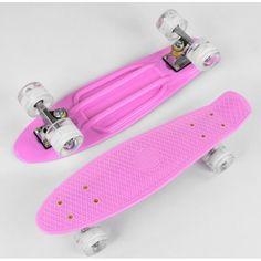 Акция на Пенни борд скейт маленький Best Board , доска 55 см, колёса полиуритановые светятся для фрирайда Розовый от Allo UA