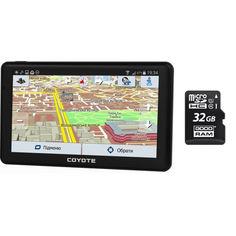 Акция на GPS Навигатор Видеорегистратор COYOTE 926 DVR Hurricane PRO 1gb 16gb с картами для грузового и легкового транспорта + MicroSD карта памяти 32GB от Allo UA