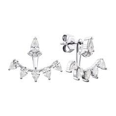Акция на Серебряные серьги-джекеты с фианитами 000134006 от Zlato