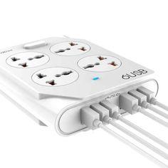 Акция на Сетевой USB Удлинитель Moxom KH-63Y 4 розетки + 6 usb от Allo UA