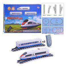 Акция на Железная дорога Молния для детей на пульте радиоуправления с локомотивом и 2 вагонами, со звуковым эффектами от Allo UA