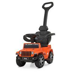 Акция на Детский Электромобиль Каталка-Толокар Jeep Rubicon: музыка, родительская ручка, до 23кг, оранжевый 64х40х86см* от Allo UA
