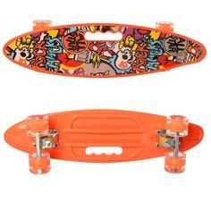 Акция на Детский Скейт Пенни борд Penny board со светящимися колесами, колеса PU, до 70 кг, ABEC-7 оранжевый 59х16см от Allo UA