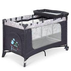 Акция на Манеж 3в1: кровать, пеленальный столик - складной, дверца на молнии, матрасик 123х77х64см - El Camino Stars Gray от Allo UA