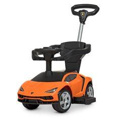 Акция на Детский Электромобиль Каталка-Толокар Bambi Porsche с музыкальной панелью и родительской ручкой, оранжевый от Allo UA