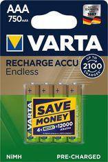 Акция на Аккумулятор VARTA RECHARGEABLE ACCU ENDLESS AAA 750 mAh BLI 4 NI-MH (56673101404) от MOYO