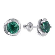 Акция на Серебряные пуссеты с зеленым кварцем 000008091 от Zlato