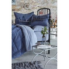 Акция на Набор постельное белье с одеялом Karaca Home - Istanbul indigo 2019-2 полуторный от Allo UA