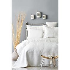Акция на Набор постельное белье с покрывалом Karaca Home - Monomia ekru 2019-2 молочный евро от Allo UA