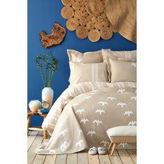 Акция на Набор постельное белье с покрывалом Karaca Home - Albatros bej 2020-1 бежевый евро от Allo UA