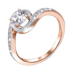 Акция на Золотое кольцо в комбинированном цвете с цирконием Swarovski 000140061 16.5 размера от Zlato