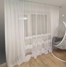 Акция на Комплект Декор-Ин Тюль-штора Паутина с тремя полосами белый 150х245 см 2 шт белый 300х245 см 1 шт (ROZ6400056269) от Rozetka