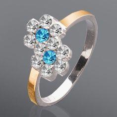 Акция на Серебряное кольцо с золотыми вставками и камнями Юрьев 155л.с. 16.5 от Allo UA