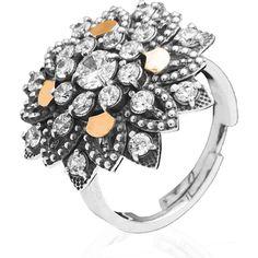 Акция на Серебряное кольцо с золотом Юрьев украшенное фианитами 83к 18.5 от Allo UA