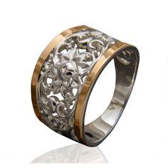Акция на Женское кольцо с золотыми вставками Юрьев 251к 19 от Allo UA