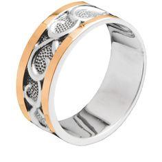 Акция на Серебряное кольцо с золотом, без камней Юрьев 58к 18.5 от Allo UA