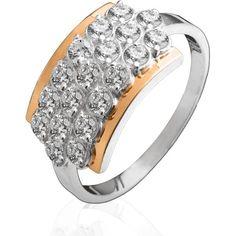Акция на Женское кольцо с белыми и цветными камнями Юрьев 77К 17 от Allo UA