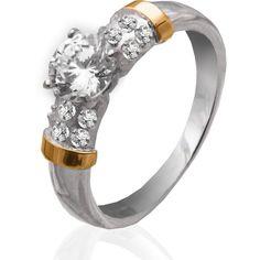 Акция на Серебряное кольцо с золотыми вставками Юрьев 201К 17.5 от Allo UA