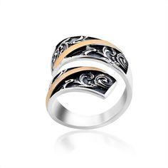Акция на Оригинальное кольцо в стиле Бохо из серебра и золота Юрьев 355к - 355к 17.5 от Allo UA