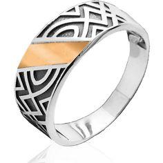 Акция на Кольцо из серебра со вставкой золота Юрьев 45к 17.5 от Allo UA