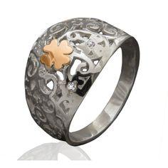 Акция на Кольцо из серебра и золота Юрьев 252к 19 от Allo UA