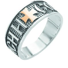 Акция на Серебряное кольцо Спаси и сохрани с золотом Юрьев 29к - 29к 18.5 от Allo UA