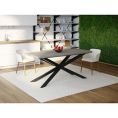 Акция на Обеденный стол Skandi Wood SW037 Айова 160 х 80 х 75 см МДФ+Шпон Дуб Темно-Cерый (SW03716875DaOMDF) от Allo UA