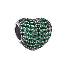 Акция на Серебряный шарм-сердце с зелеными фианитами 000126266 от Zlato