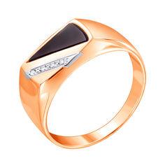 Акция на Золотой перстень-печатка в комбинированном цвете с цирконием и черным ониксом 000117642 19.5 размера от Zlato