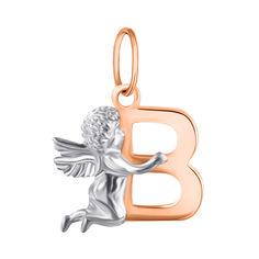 Акция на Подвес из серебра Ангелочек с буквой В с позолотой 000070840 от Zlato