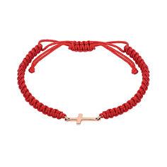 Акция на Браслет из плетеного шнурка и красного золота 000141630 б/р размера от Zlato