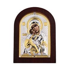 Акция на Икона Божия Матерь Владимирская с серебром и позолотой в деревянной рамке 000140109 б/р размера от Zlato