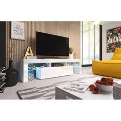 Акция на Тумбочка под телевизор CAMA TORO 158 стильная Белый мат/Белый глянец с подсветкой от Allo UA