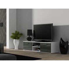 Акция на Длинная тумба под телевизор CAMA SOHO 140 S-4 с полочками Серый мат/Белый глянец от Allo UA
