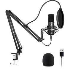 Акция на Maono AU-A04 микрофон, стойка, паук, поп фильтр в комплекте - Черный от Allo UA