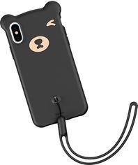 Акция на Панель Baseus Bear Silicone для Apple iPhone Xs Black (WIAPIPH58-BE01) от Rozetka