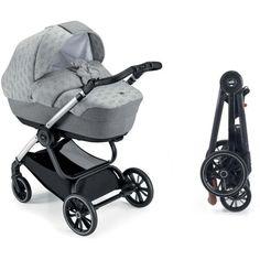 Акция на Детская коляска универсальная 2 в 1 Cam Techno Softy 514 серая с мишкой на раме черный карбон (805T/V98/977/514K) от Allo UA
