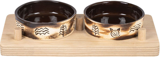 Акция на Миски керамические Природа Этно 2x200 мл на деревянной подставке (4823082418671) от Rozetka
