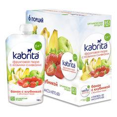 Акция на Пюре Kabrita Банан с клубникой и яблочным пюре 100 г, 6 шт  ТМ: Kabrita от Antoshka